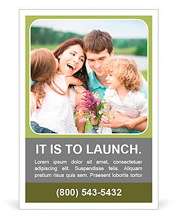 Happy family with flowers having fun outdoors in spring field Ad Template