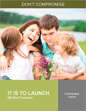 Happy family with flowers having fun outdoors in spring field Word Template - Page 1