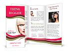 Fashion Stylish Beauty Portrait. Beautiful Girl's Face Close-up. Haircut. Hairstyle. Fringe. Profess Brochure Template