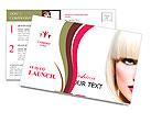 Fashion Stylish Beauty Portrait. Beautiful Girl's Face Close-up. Haircut. Hairstyle. Fringe. Profess Postcard Template