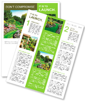 Flowerbeds and Winding Pathway in an English Formal Garden Newsletter Template