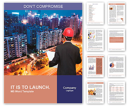 Rear view of architect looking comparing housing project with building Word Template
