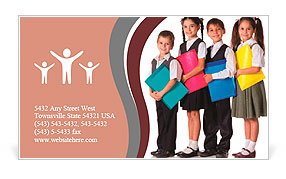 Four smiling schoolchild standing with colorful folders, isolated on white Business Card Template
