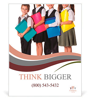 Four smiling schoolchild standing with colorful folders, isolated on white Poster Template