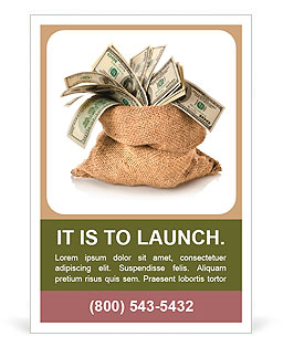 Money in the bag isolated on a white background Ad Template