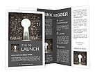 Opened concrete wall in form of a keyhole with drawing business concept Brochure Template