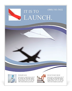 Paper airplane casting a shadow of a jetliner - vision and aspirations concept illustration Flyer Template