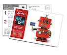 Little happy vintage toy robot holding a hello sign over white background Postcard Template