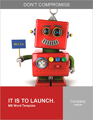 Little happy vintage toy robot holding a hello sign over white background Word Template - Page 1