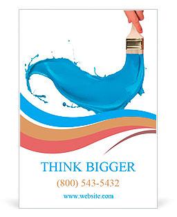 Fırça dışarı sıçramasına mavi boya. Beyaz arka plan üzerinde izole Reklam ilanlarının şablonları