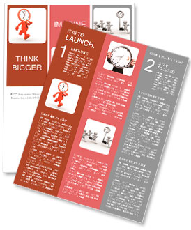 3d people - man, person running out of time. A clock Newsletter Template