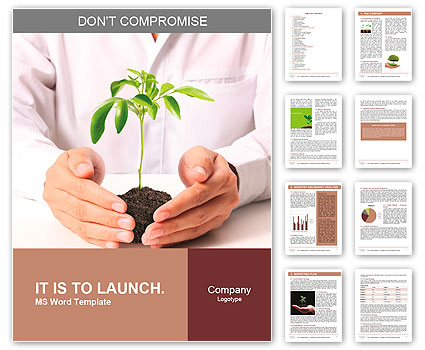 Holding a plant isolated on a white background Word Template