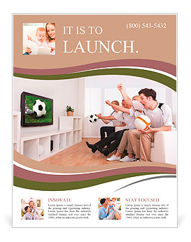 Jubilant family watching television as they cheer on their home side in a sporting competition Flyer Template