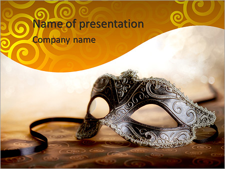 Female carnival mask with glittering background PowerPoint Template