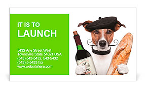 French dog wine baguette beret Business Card Template