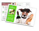 French dog wine baguette beret Postcard Template