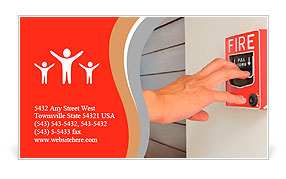The hand of man is pulling fire alarm on the wall next to the door Business Card Template