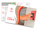 The hand of man is pulling fire alarm on the wall next to the door Postcard Template