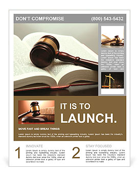 Wooden gavel and book on wooden table, on grey background Flyer Template