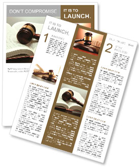 Wooden gavel and book on wooden table, on grey background Newsletter Template
