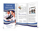 Three business people sitting at seminar, the focus is on woman Brochure Template