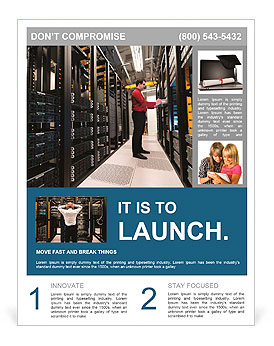 Young IT administrator installing a new rack mount server. Large scale storage server is also seen. Flyer Template