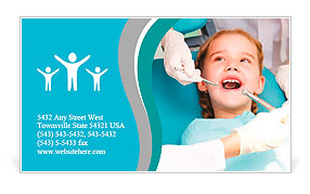 Little girl sitting in the dentists office Business Card Template
