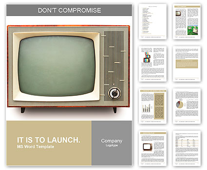 Vintage TV set isolated. Clipping path included. Word Template