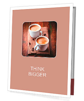 Two cups of espresso on brown napkin Presentation Folder