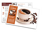 Coffee cup and beans on a white background. Postcard Template