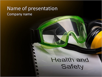 Health and safety register with goggles and earphones PowerPoint Template