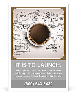 Cup of coffee on background of business strategy Ad Template