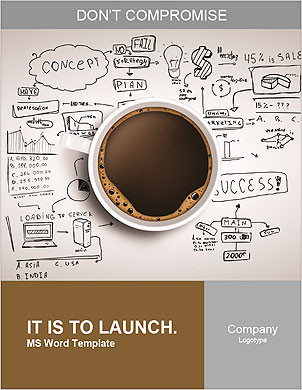 Cup of coffee on background of business strategy Word Template - Page 1