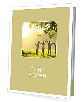 An asian family jumping in joy in the park during a beautiful sunrise, backlight Presentation Folder