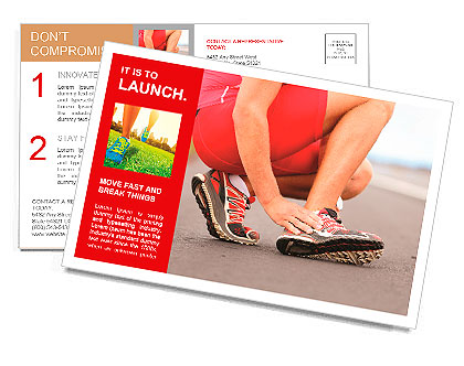 Broken twisted ankle - running sport injury. Male runner touching foot in pain due to sprained ankle Postcard Template