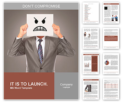 Businessman covering his face with angry mask on gray background Word Template