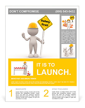 "3d people - man, person with a ""safety first"" sign in hand. Flyer Template"
