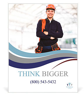Portrait of an happy worker Poster Template