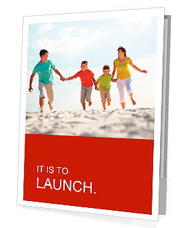 Photo of happy family running down the beach on summer Presentation Folder