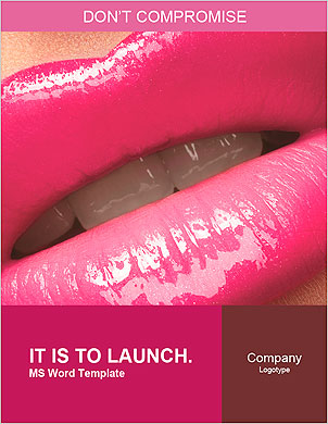 Close-up of woman's lips with bright fashion pink glossy makeup. Macro magenta lipgloss make-up Word Template - Page 1