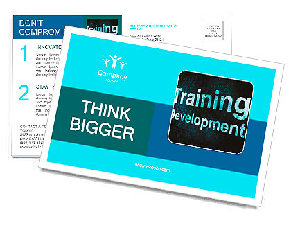 Education and learn concept: pixelated words Training Development on digital screen, 3d render Postcard Template