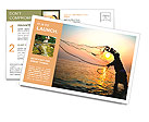 Throwing fishing net during sunrise, Thailand Postcard Template