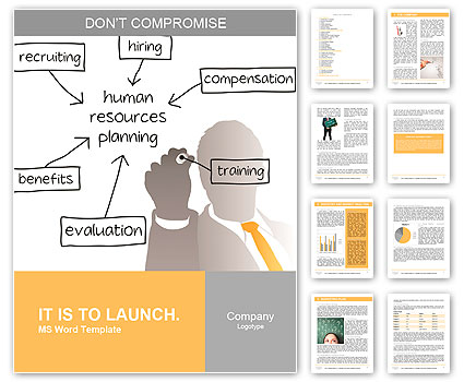 Enterprise HR manager drawing a company human resources business plan Word Template