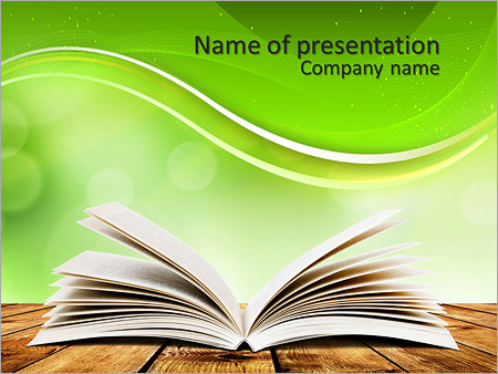Open Book On Wood Planks Over Abstract Light Background Powerpoint Template Infographics Slides