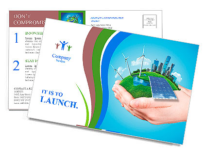 Hands holding clear green meadow with sun battery block, wind mill turbines and city skyscrapers. Co Postcard Template