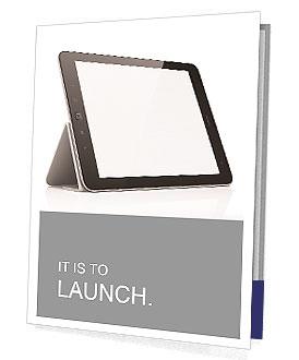Black abstract tablet computer (pc) on white background, 3d render Presentation Folder