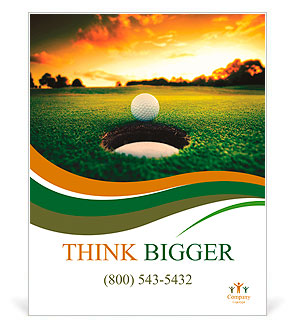 Golf ball about to fall into the cup at sunset Poster Template