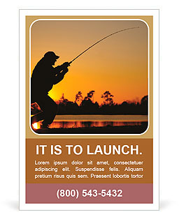A fisherman fight against a bass at sunset Ad Template