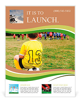 Young boy child in uniform watching organized youth soccer or football game from sidelines Flyer Template