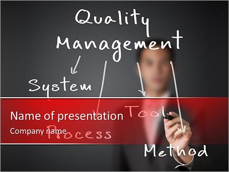 Business man writing industrial quality management concept ( system -  process - tool - method ) PowerPoint Template & Infographics Slides